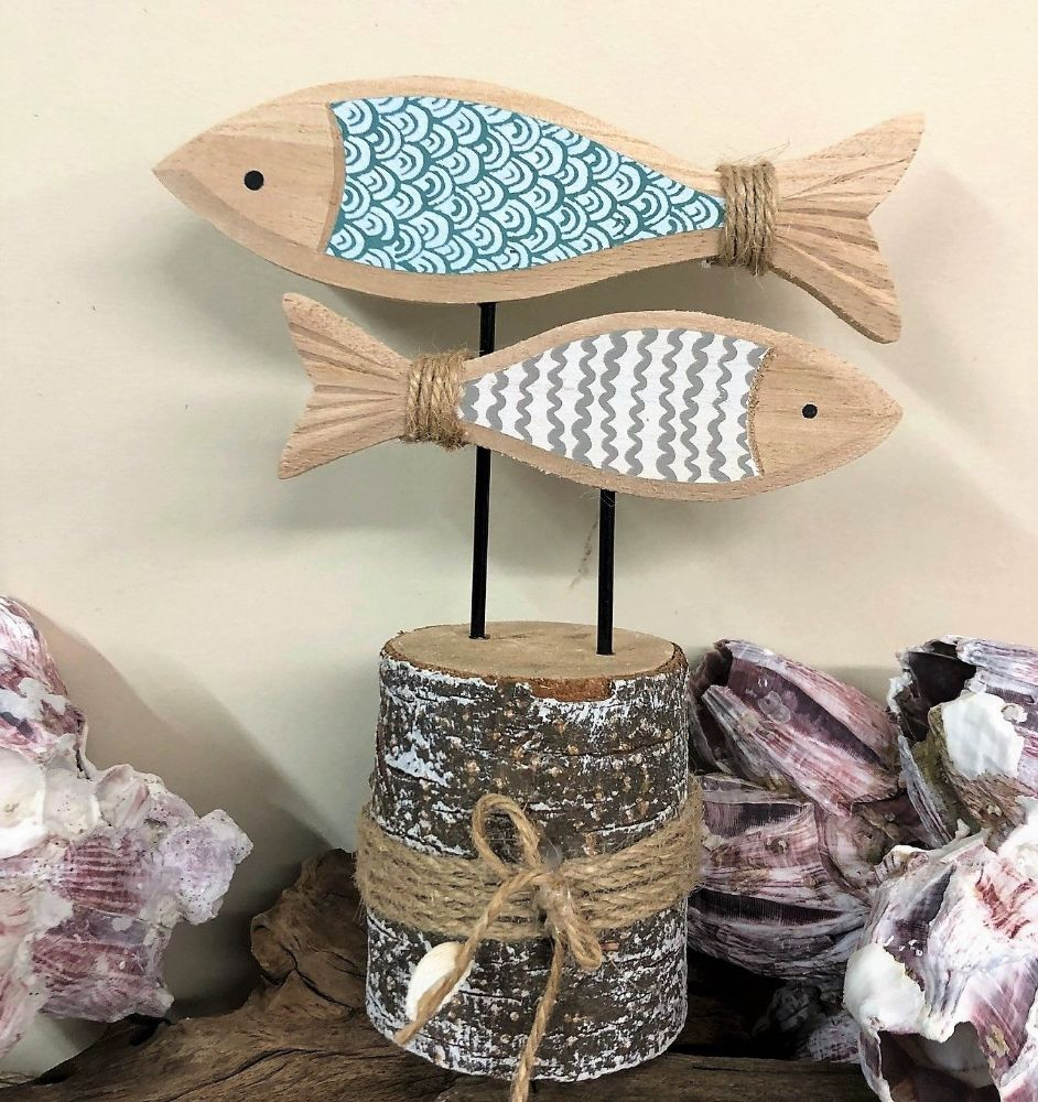 19cm Duo of Fish on Bark Stump Nautical Decor